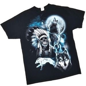 Vintage Howling Wolf and Skull Shirt